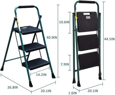 HBTower 3 Step Ladder Folding Step Stool