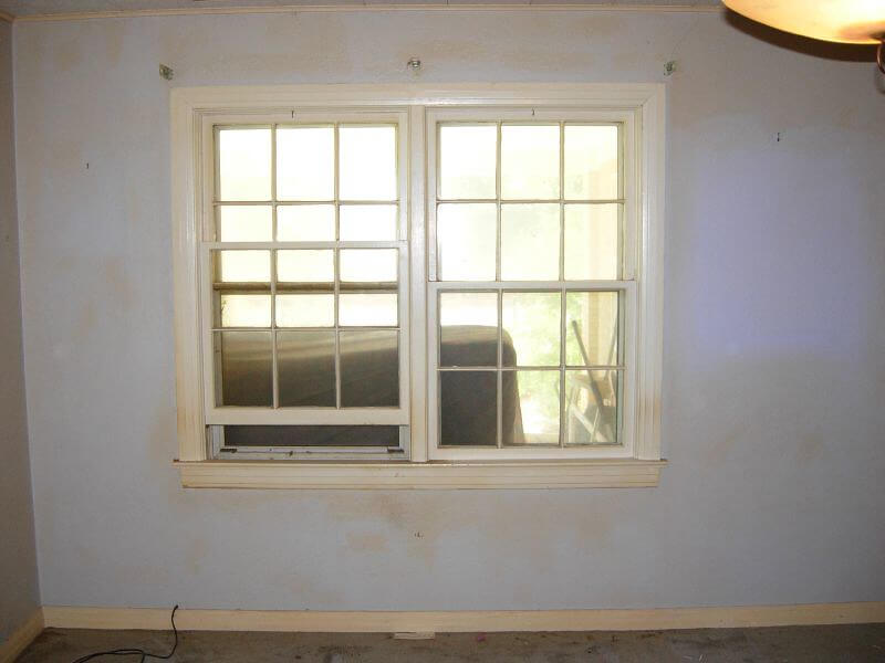 nicotine staining wall with window