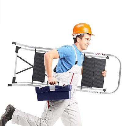 Delxo Lightweight Aluminum 3 Step Ladder Step Stool Single-Hand Carry Ladder