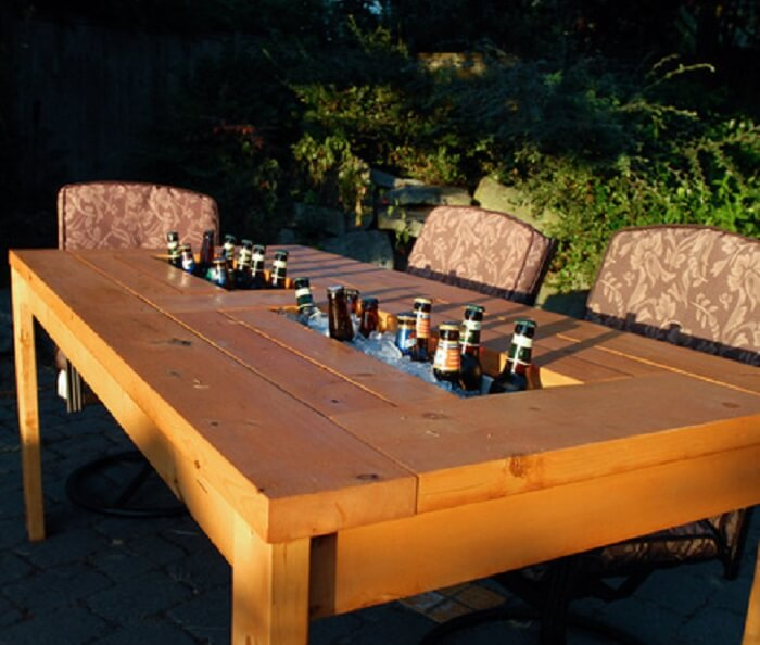 DIY Patio Table With Built-in Beer Wine Coolers