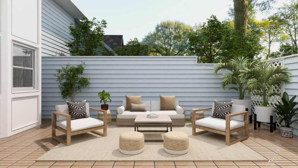 backyard space with armchairs and table